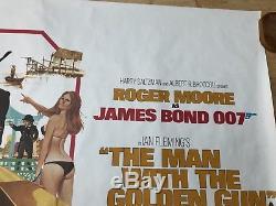 1 DAY PRICE! 007 MAN WITH THE GOLDEN GUN Rolled Original QUAD movie POSTER Bond