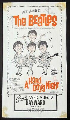 1964 THE BEATLES original US film poster for A Hard Day's Night John Lennon