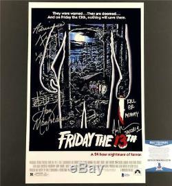 1980 FRIDAY THE 13th Cast Signed chrome 11x17 movie poster photo BAS COA Beckett