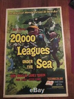 20.000 Leagues Under The Sea Original 40 x 60 Movie Poster Walt Disney