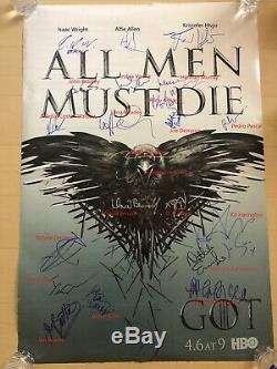 23 Cast Signed Game Of Thrones Poster George RR Martin Kit Harington Autograph