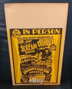 50's Vintage Spook Show ORIGINAL Monster Poster Dracula Scream Show Frankenstein