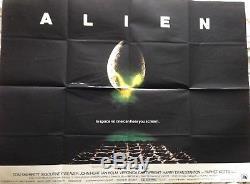 ALIEN (1979) Ridley Scott classic movie ORIGINAL UK QUAD POSTER (FOLDED)