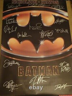 AMAZING Batman (1989) Signed Movie Poster 15 Sigs! Autographed with Prince, Kane