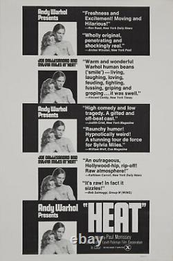 Andy Warhol Rare Vintage 1972 Original Heat Joe Dallesandro Sylvia Miles Poster
