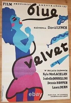 BLUE VELVET, Original 1st print, Polish Poster, Movie Poster, David Lynch, 26x38