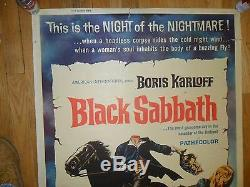 Black Sabbath ORIGINAL 1964 OVERSIZED 40x60 POSTER Boris Karloff Mario Bava AIP