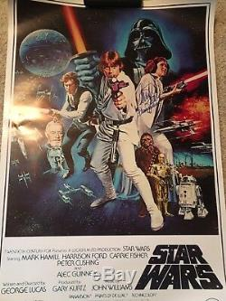 Carrie Fisher Signed Star Wars Full Size Poster-RARE Princess Leia inscription