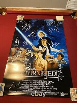 Cast SIGNED STAR WARS Movie Poster Return Of The Jedi Poster! Mark Hamill ++