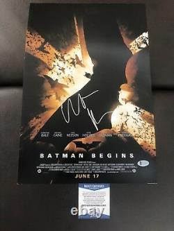 Christian Bale Batman Begins Poster Signed 12x18 Photo Beckett Bas Coa Auto