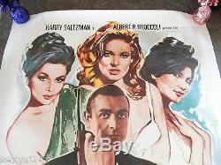 DR NO linen backed ORIGINAL 007 CINEMA POSTER 1974 JAMES BOND RARE SEAN CONNERY