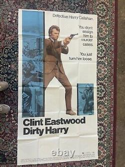 Dirty Harry Original 1971 3 sheet Movie Poster Clint Eastwood Folded