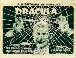 Dracula RARE Original Vintage Horror Half Sheet Movie Poster Bela Lugosi 1947