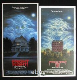 FRIGHT NIGHT 1 & 2 Original Australian daybill movie posters horror classic