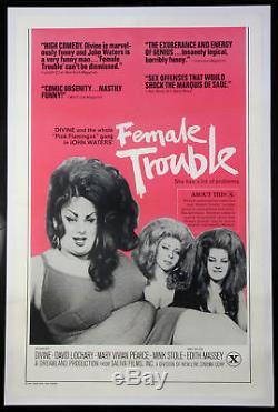 Female Trouble John Waters Divine In Drag 1974 1-sheet Linenbacked