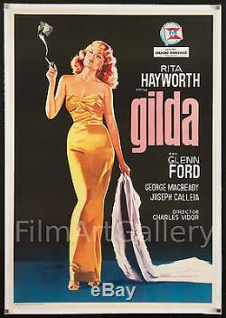 GILDA Stunning Rita Hayworth Spanish 1 Sheet poster linen-backed filmartgallery