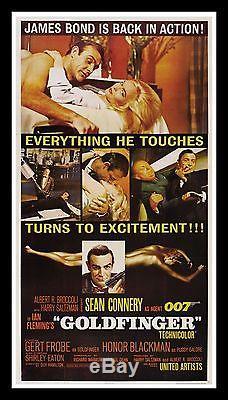 GOLDFINGER CineMasterpieces 3SH ORIGINAL MOVIE POSTER 1964 JAMES BOND LINEN