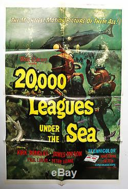 Genuine Theatrical Movie Poster Walt Disney's 20,000 Leagues Under the Sea RR