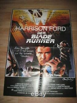 German Blade Runner One Sheet Signed By 7/Sean Young/Rutger Hauer/Hong/Cassidy