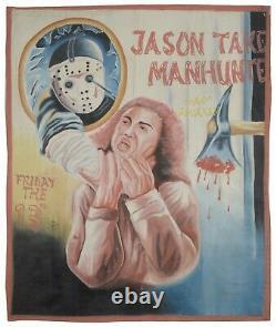 Ghana movie cinema poster Oil Paint hand painted Flour Sack FRIDAY THE 13TH