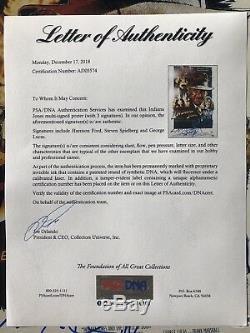 Harrison Ford George Lucas Steven Spielberg Signed Indiana Jones Autograph PSA