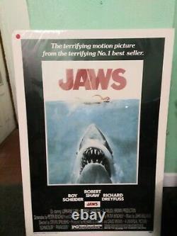 JAWS 1975 ANTIQUE MOVIE POSTER 27x41 VINTAGE STEVEN SPIELBERG SHARK SEALED