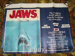 JAWS Original UK Crown Quad movie Poster 1975 SPIELBERG Film UK Seller