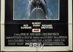 Jaws 1975 Original 27x41 Movie Poster Roy Scheider Robert Shaw Richard Dreyfuss