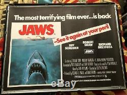 Jaws (1975) Original first re-release UK Quad poster from the summer of 1976