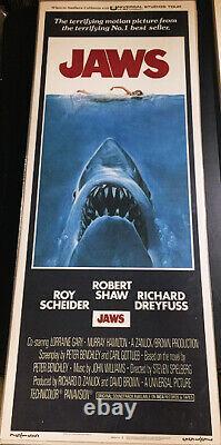 Jaws!'75 Scheider, Shaw, Dreyfuss Rare Bargain Original U. S. Insert Film Poster