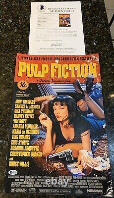 John Travolta & Quentin Tarantino Dual Signed Pulp Fiction 12x18 With Beckett LOA