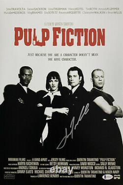 John Travolta Signed 12x18 Pulp Fiction Movie Photo Poster Beckett BAS Witnessed