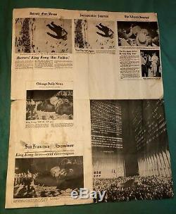 KING KONG 1976 DINO DE LAURENTIIS MAQUETTE / STATUE & NEWS PAPER 100 Made RARE