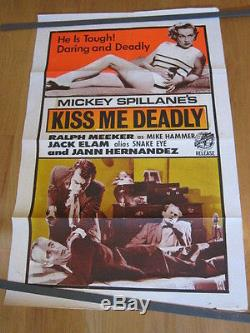 KISS ME DEADLY Original 1955 Trinidad poster film noir Ralph Meeker Aldrich
