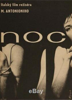 LA NOTTE The NIGHT Czech A3 movie poster ANTONIONI JEANNE MOREAU MONICA VITTI
