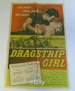 Large Movie Poster Original 1957 Drag Strip Girl Hot Rat Rod MID Century 40 Inch
