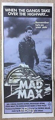 MAD MAX ORIGINAL 1980 Purple AUSTRALIAN DAYBILL Movie Poster