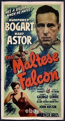 MALTESE FALCON On Linen Three Sheet Movie Poster 1941 Humphrey Bogart FILM NOIR