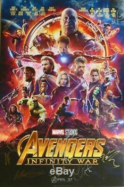 Marvel Avengers Infinity War Poster Autographed By 18 Brolin Pratt Hemsworth +