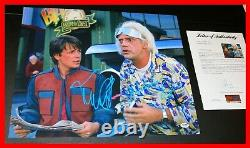 Michael J Fox Christopher Lloyd Signed Back To The Future 2 16X20 Poster PSA