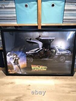 Michael J Fox Signed Auto Framed Back To The Future Photo Delorean Poster PSA