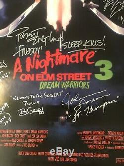 Nightmare On Elm Street 3 Movie Poster Signed By 10 Freddy Krueger