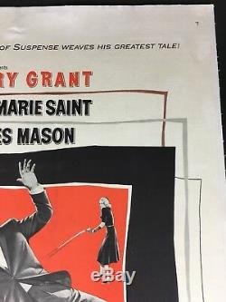 North By Northwest Original Us 1 Sheet Linen Backed Alfred Hitchcock Only $975