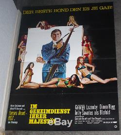 ON HER MAJESTY'S SECRET SERVICE original movie poster JAMES BOND/GEORGE LAZENBY