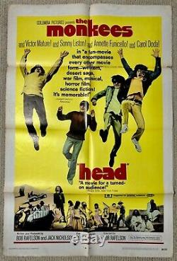 ORIGINAL one sheet movie poster THE MONKEES HEAD 27x41 1968