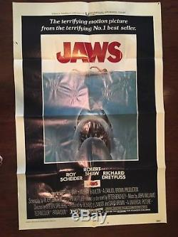 Original 1975 Universal Pictures JAWS One Sheet Movie Theater Poster -27x41
