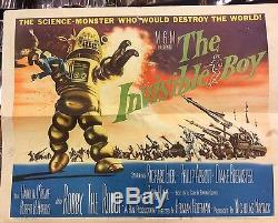 Original Sci Fi 1957 The Invisible Boy Half Sheet Movie Poster! Robby The Robot