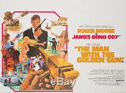 Original The Man with the Golden Gun, UK Quad, Bond, Linen Film/Movie Poster
