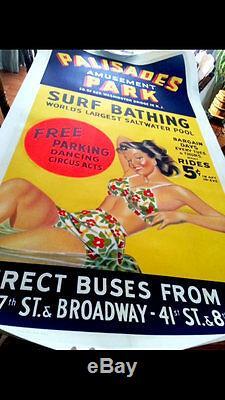 PALISADES AMUSEMENT PARK Vintage 3-Sheet Poster Linen-Backed RARE 1940's