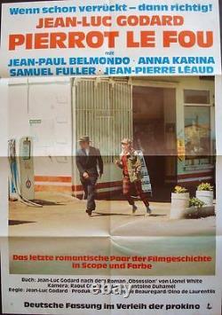 PIERROT LE FOU German A1 movie poster R72 GODARD JEAN-PAUL BELMONDO ANNA KARINA